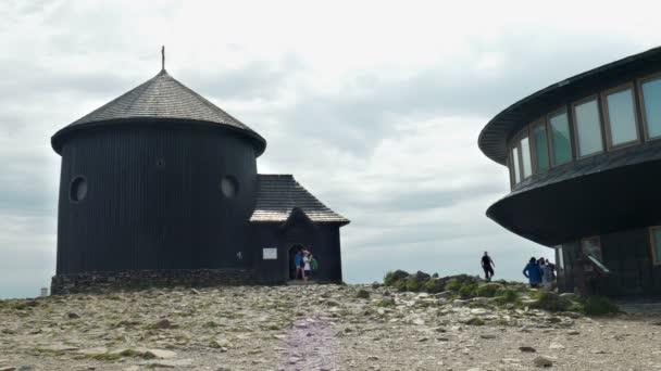 KARKONOSZE NATIONAL PARK, POLAND - AUGUST 2015: Historic Chapel of St. Lawrence on the summit of Sniezka (Snezka) mountain