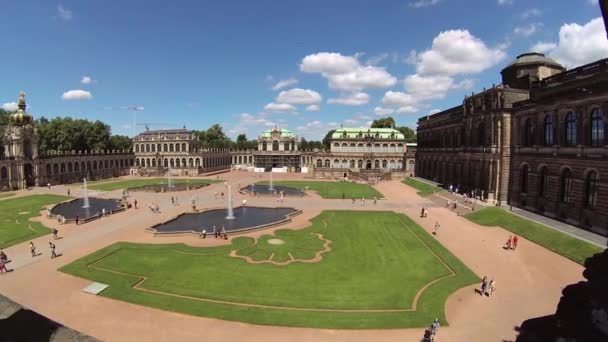 Zwinger palace - famous historic building in Dresden, Germany. Rotary timelapse
