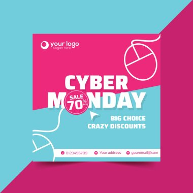 Cyber Monday banner square design template