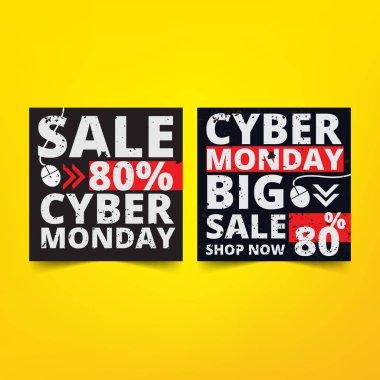 Cyber Monday banner square design template