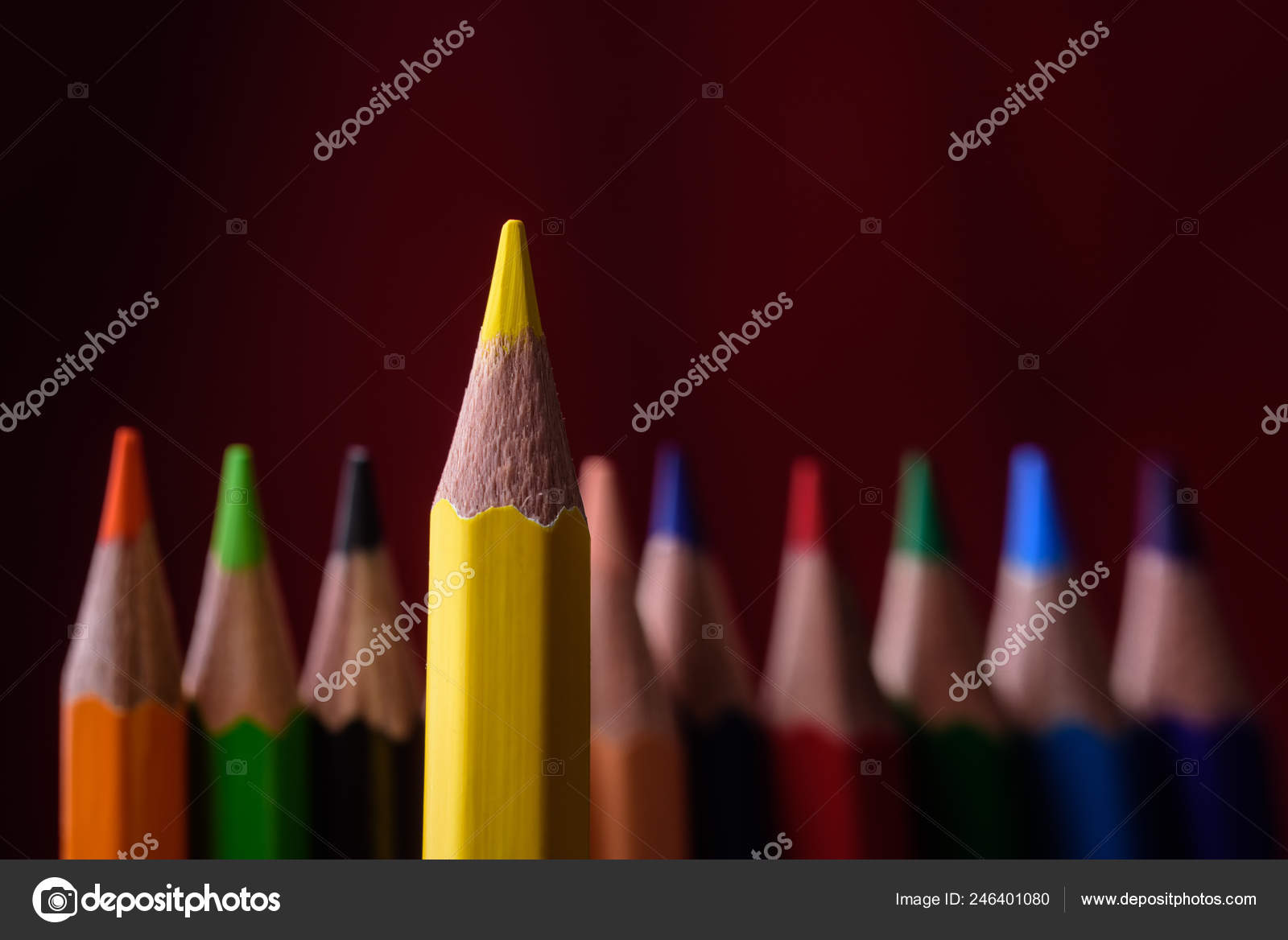yellow pencil leader other pencils red background concept business stock photo image by c eduardhapich 246401080