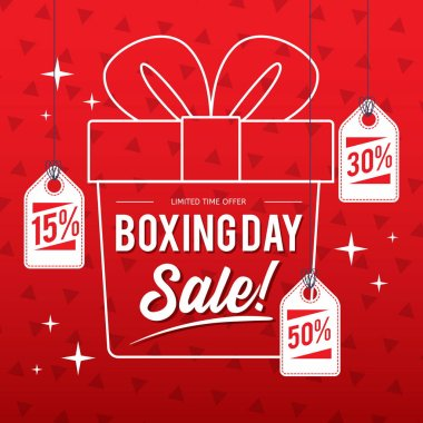 Happy Boxing day sale design with gift boxes , shopping holiday big savings, December 26th