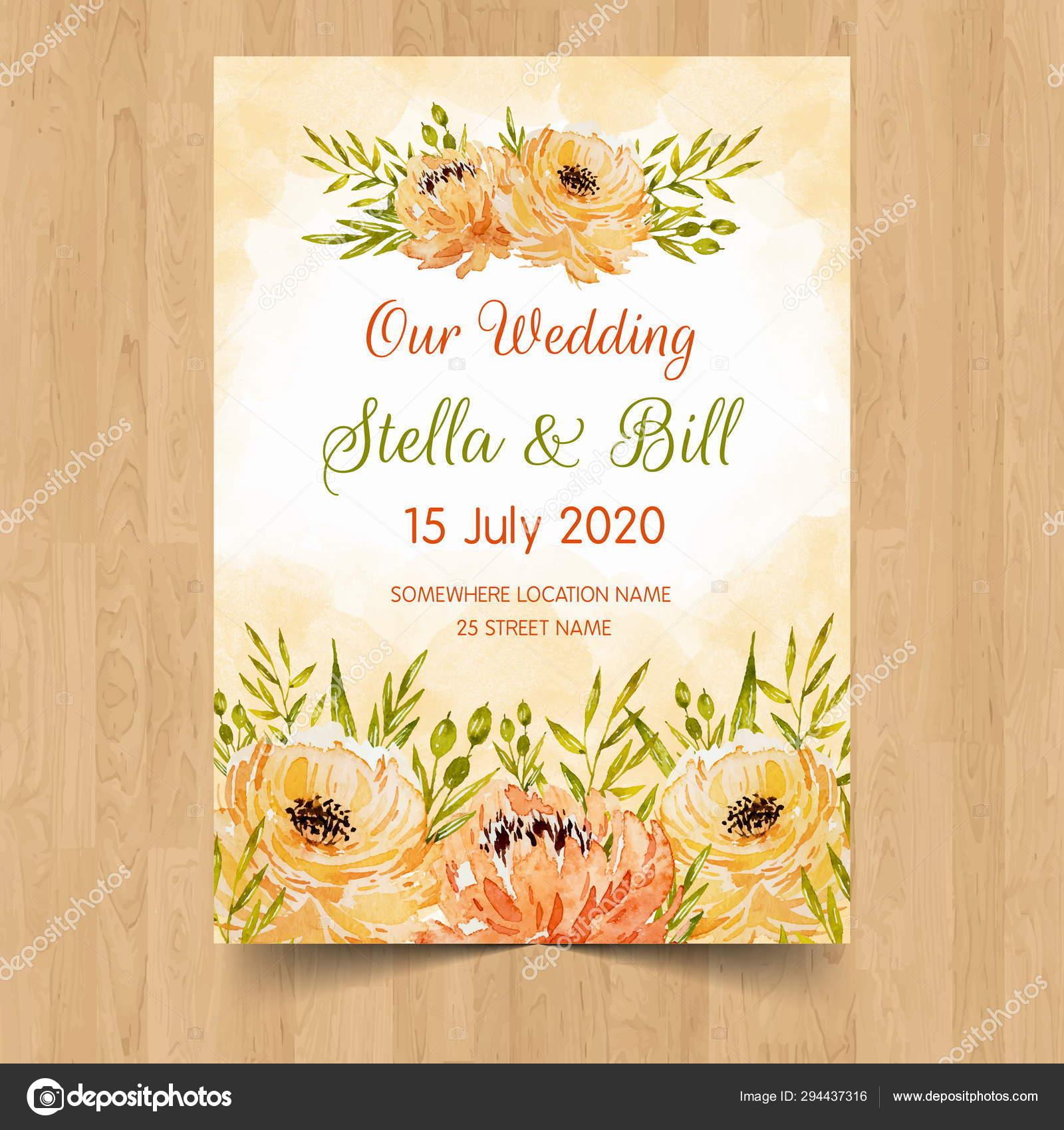 Date Wedding Invitation Card Design Flower Lovely Wedding