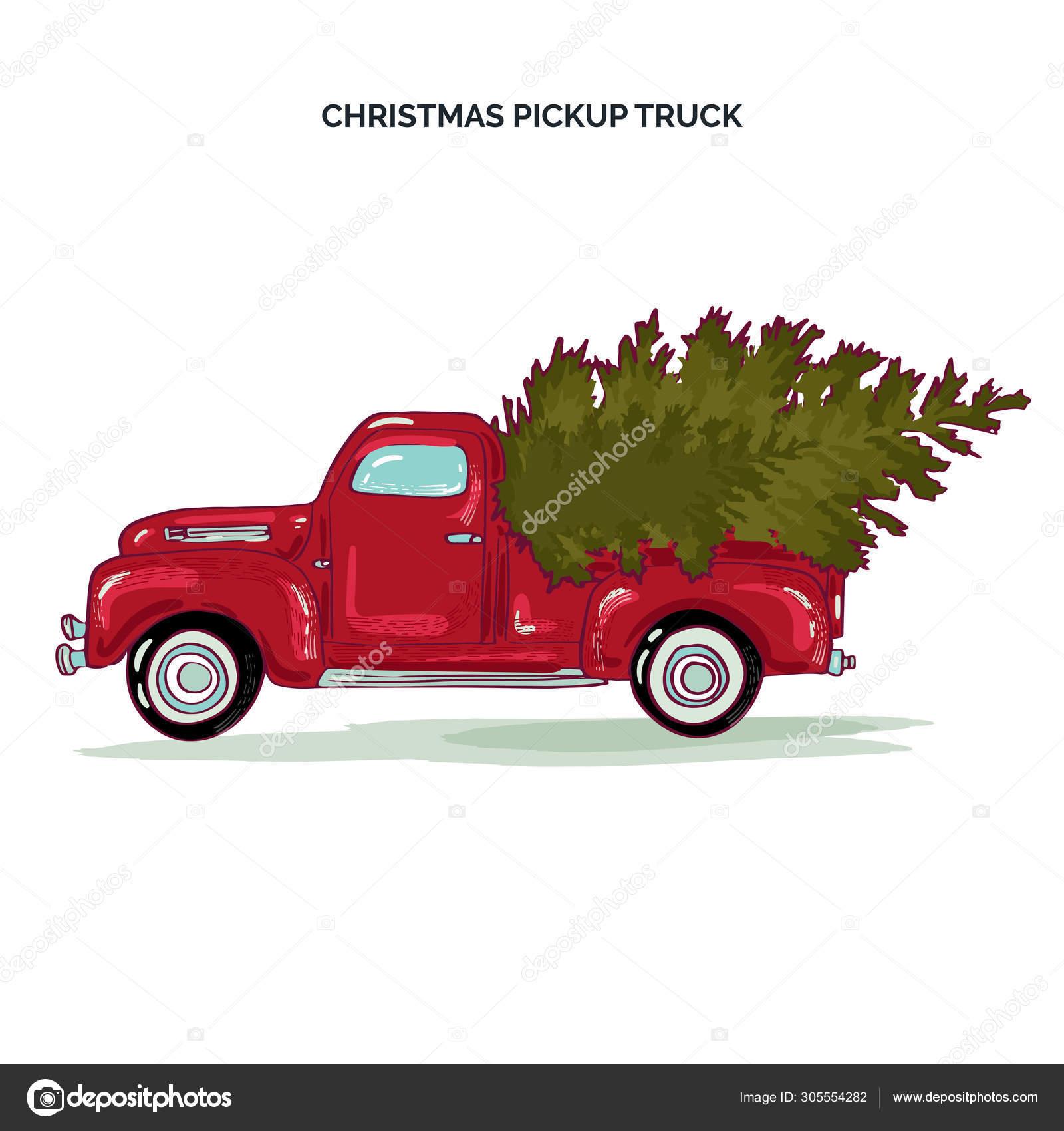 Pickup Truck Christmas Tree Christmas Card Red Retro Truck Fir Stock Vector C Ashraf171 305554282