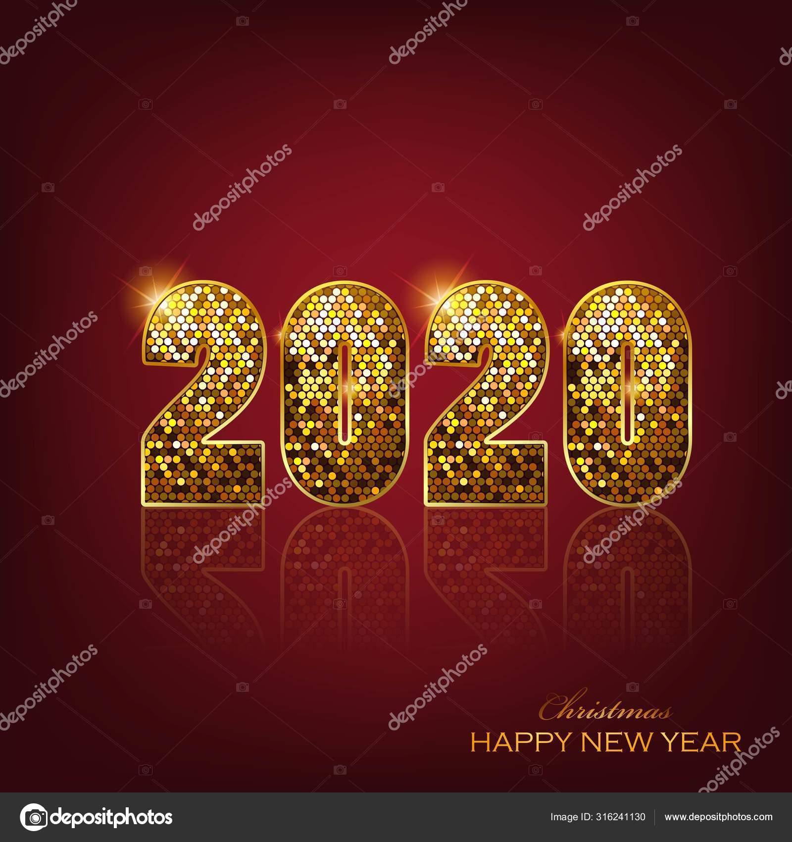 Merry Christmas Happy New Year 2020 Greeting Card Illustration Elegant Stok Vektor C Ashraf171 316241130