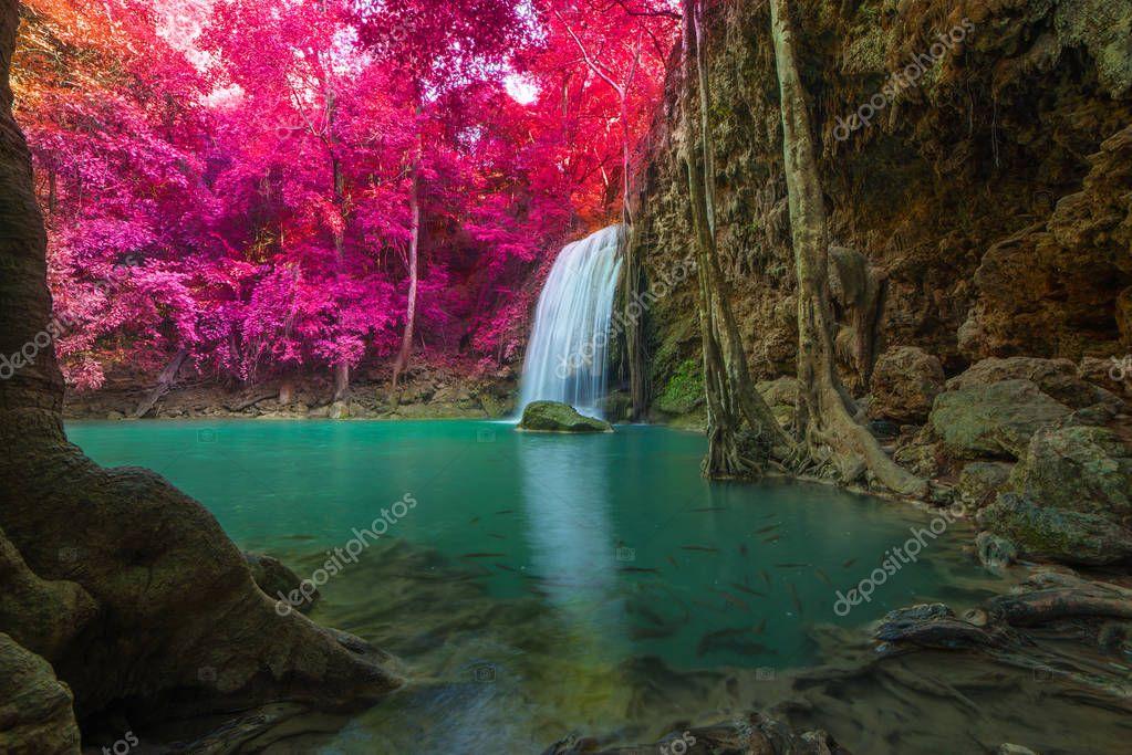 Фотообои Waterfall in Deep forest at Erawan waterfall National Park.