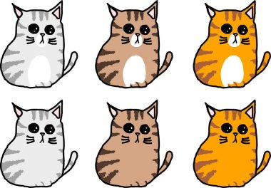 cute tabby cat varies color sitting character isolated white background