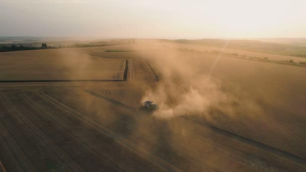 Pleven, Bulgaria- 04 07 2020: Claas Lexion Kombinovat v oblaku prachu Shromažďovat plodiny při západu slunce.. Zemědělské vybavení v akci.
