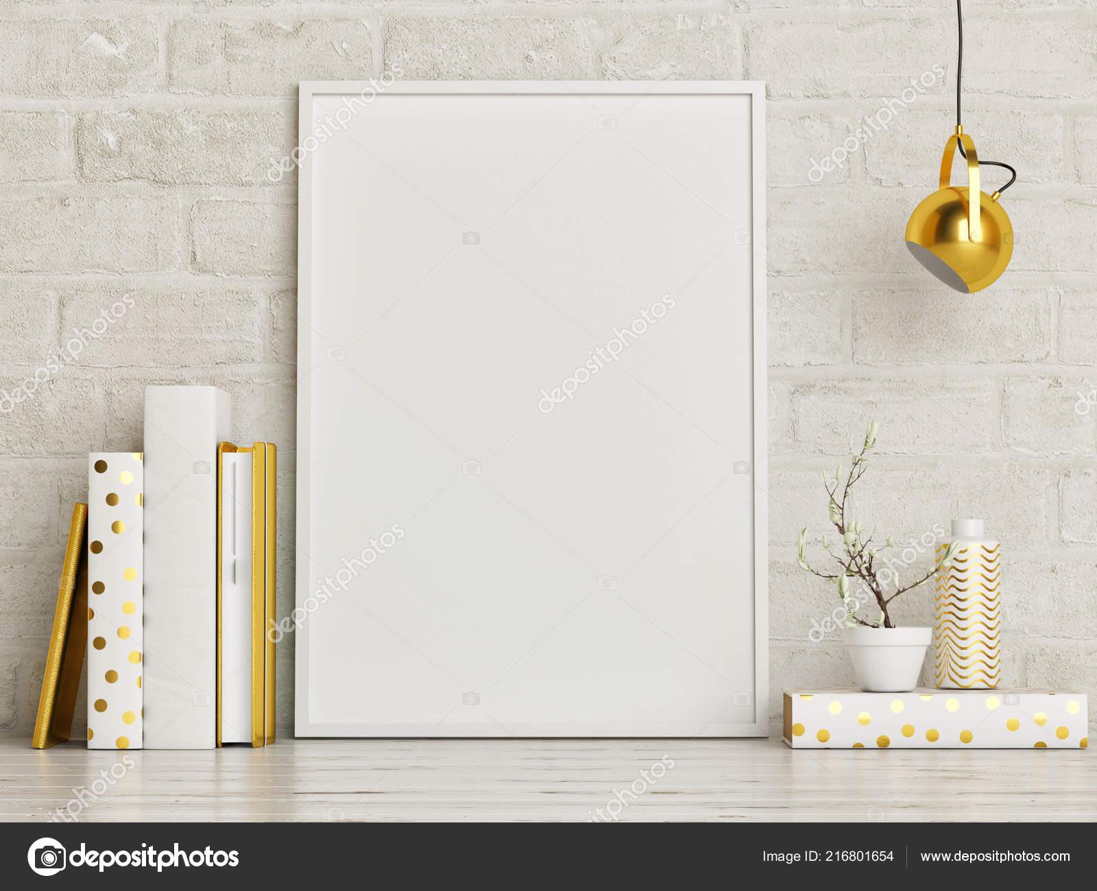 Mock Poster Mit Golddekoration Dekoration Und Bucher Rendering