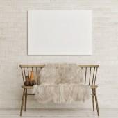 Fotografie Poster-Attrappe an weißer Ziegelwand mit alter Bank und Dekoration, 3D-Render, 3D-Illustration