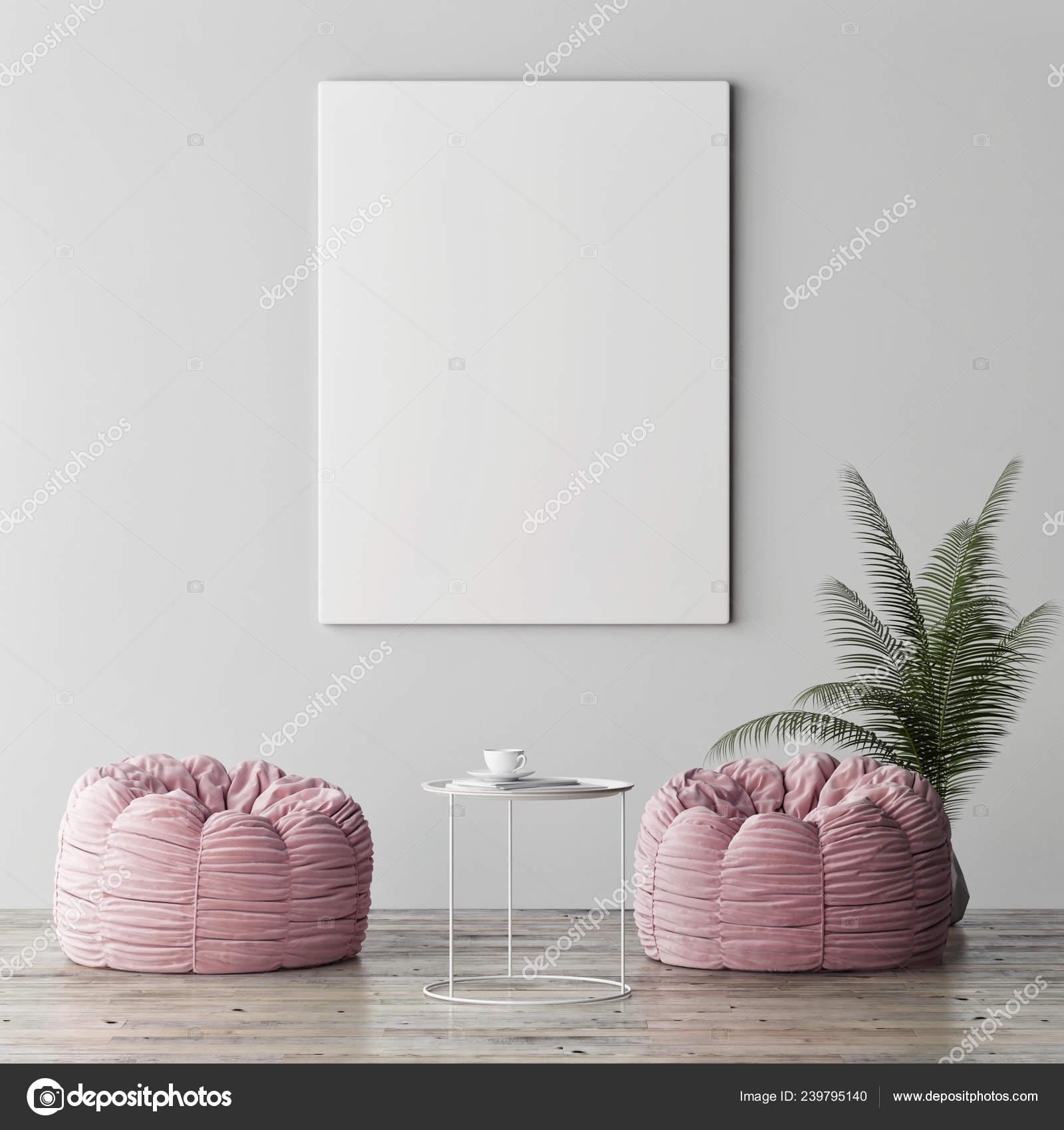 Mock Poster Minimalism Interior Concept Two Rose Poufs Palm Plant