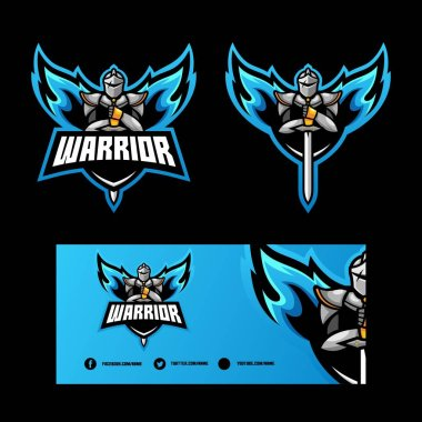 Abstract Angel Warrior illustration vector Design template