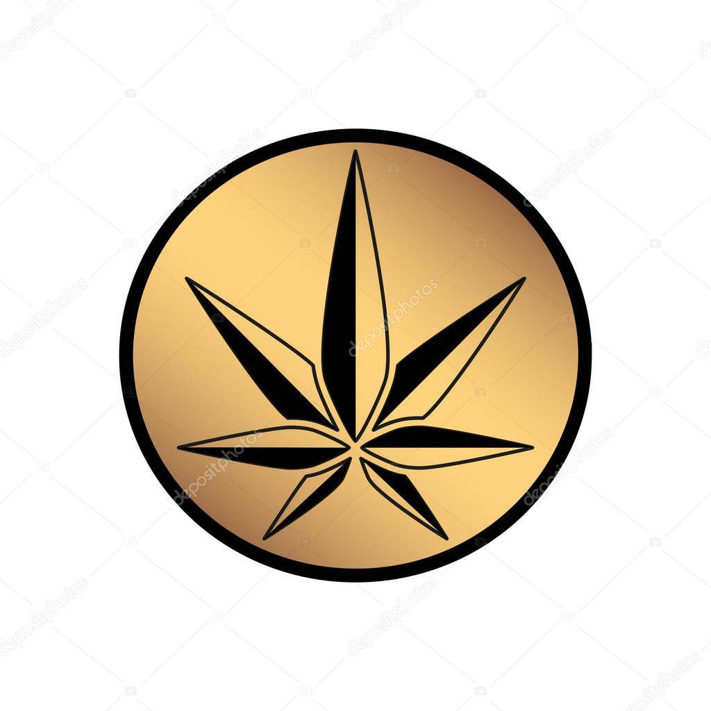 Cannabis green silhouette logo. Hemp of emblem. Ganja symbol. Green manufacturing.