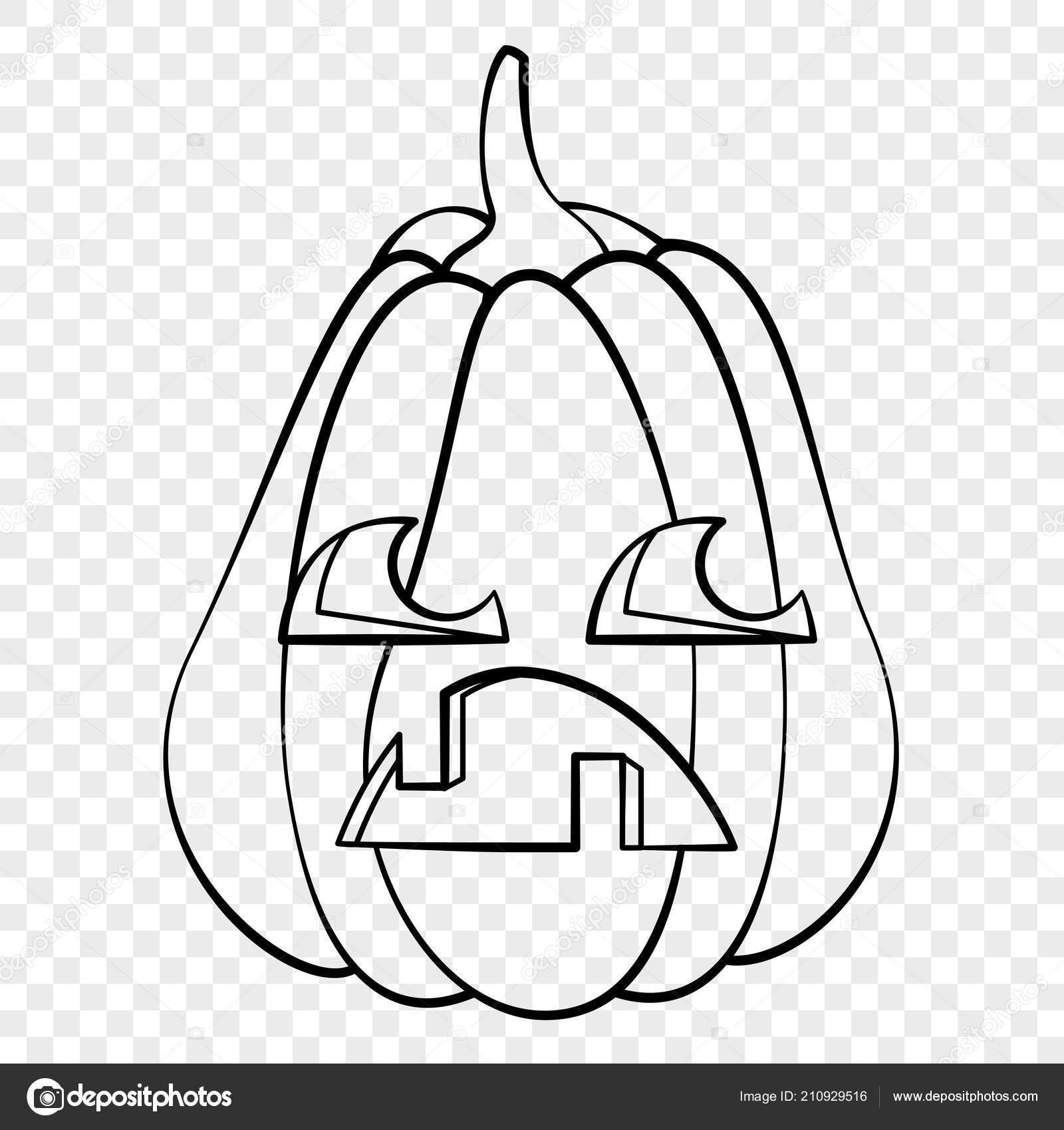 Halloween Tekeningen Pompoen.Droevig Gezicht Halloween Pompoen Emotie Schets Tekening