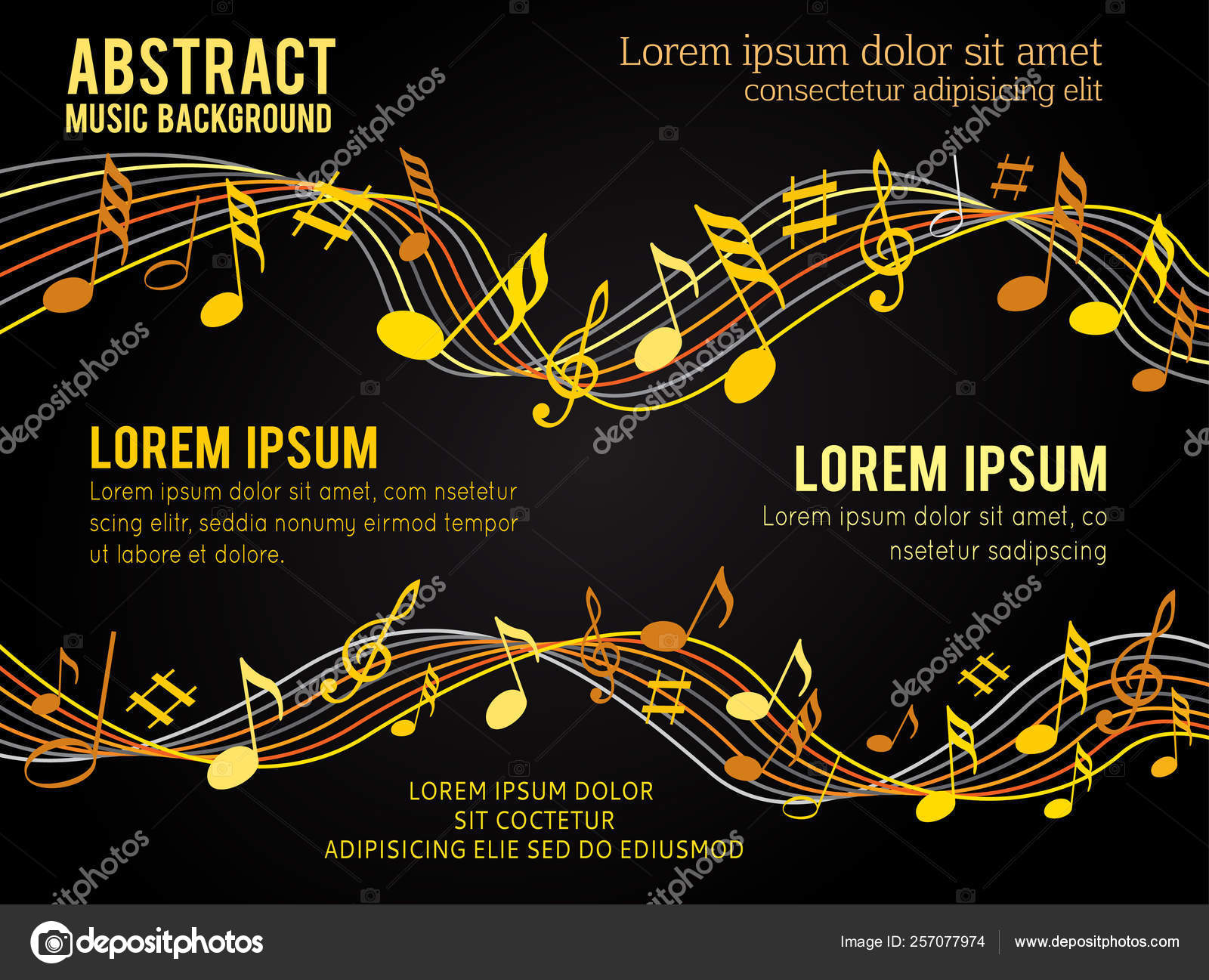 Gold Music Notes Solide Black Background Stock Vector