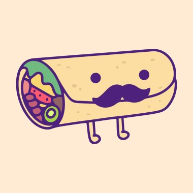 Illustrated Burrito with moustache. Fast Food, Junk Food, Street Food with cute kawaii face expressions. Handmade in doodle style - Vector EPS