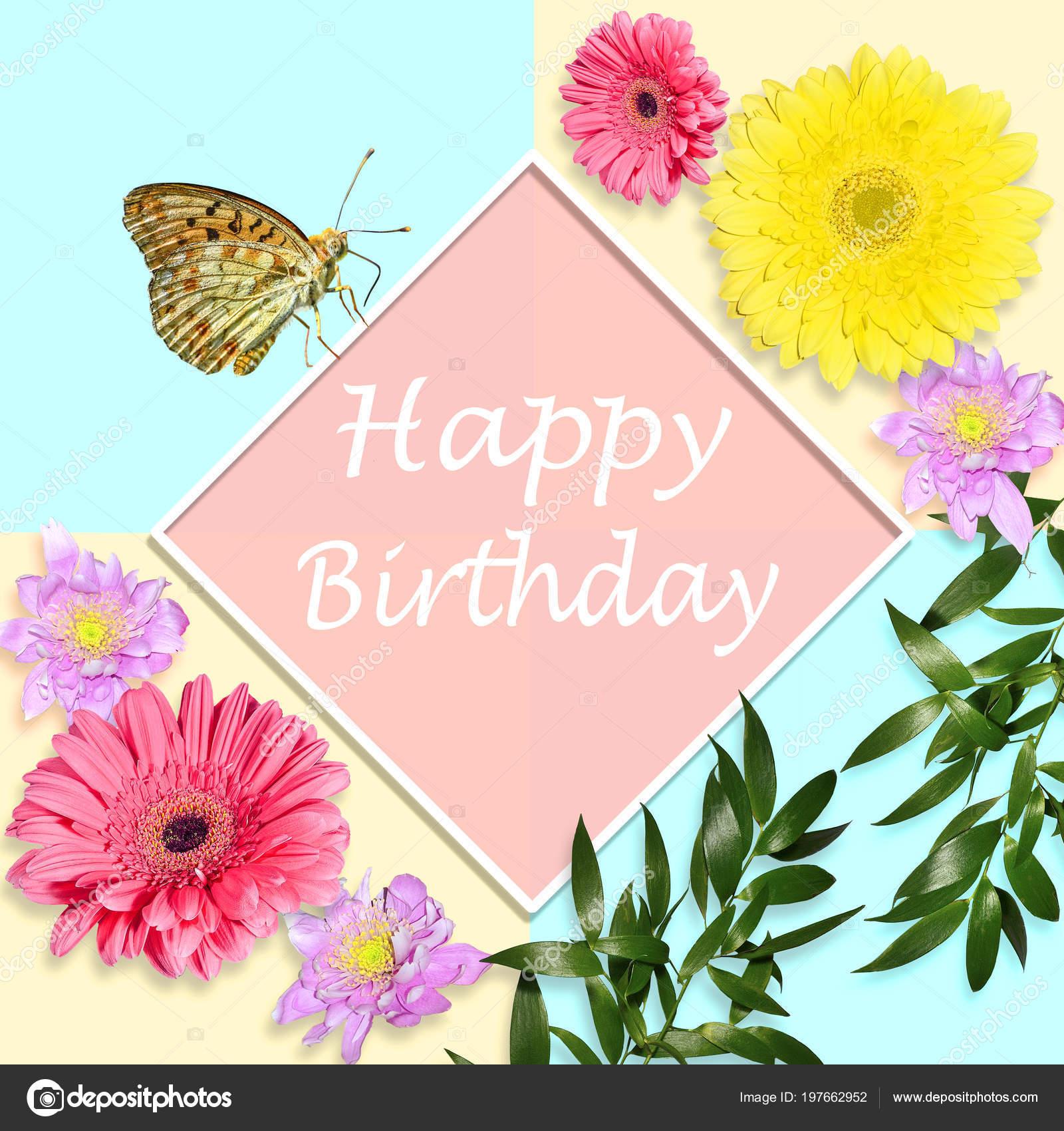 Concetto Brillante Cartolina Auguri Buon Compleanno Con Fiori