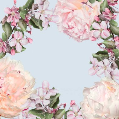 Elegant spring floral frame in pastel colors from creamy peonies and pink apple blossoms. Vintage springtime background for seasonal holidays and events with space for text