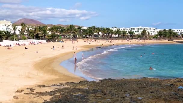 Costa Teguise beach, Lanzarote, Canary Islands, Spain, 4k footage video