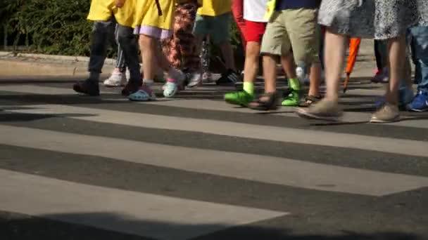 Gyerekek gyaloglás crosswalk nyári idő