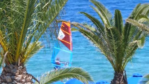 Summer water sports in clear open sea ocean windy weathe in Europe
