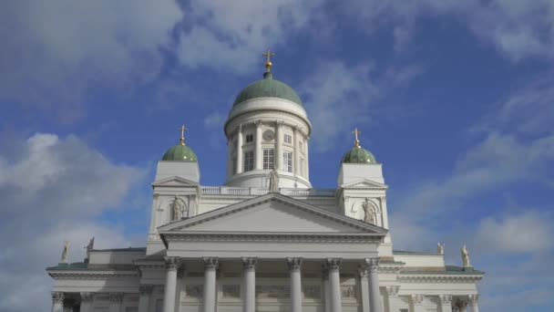 4k: panoramatický pohled katedrála na senátní náměstí v Helsinkách, Finsko