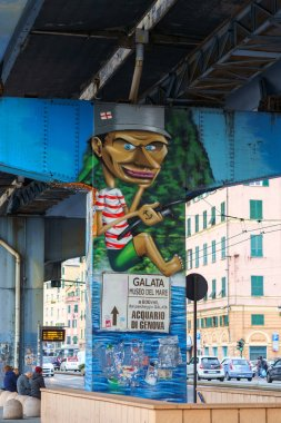 Graffiti on the Genoa city highway Sopraelevata Aldo Moro, Italy