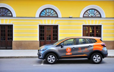 MOSCOW, RUSSIA - JULY 2: Car sharing auto parked in the street, Moscow on July 2, 2018.