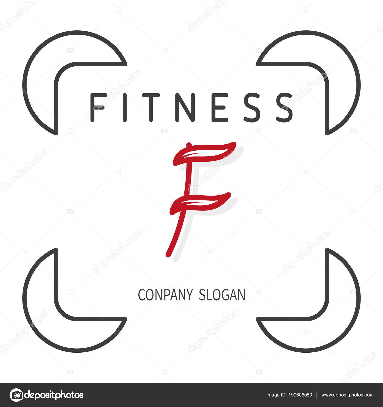 Fitness Icon Red Symbol F From Leaves Emblem For Fitness Club