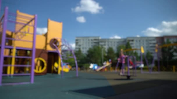 Defocused summer playground with running horse carriage on background. HD