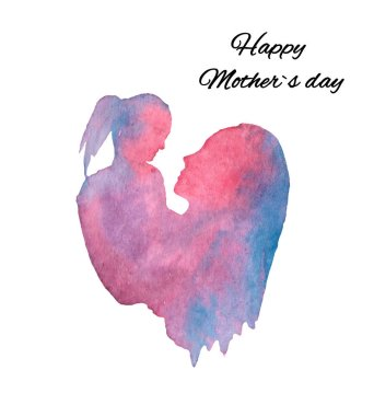 Watercolor illustration, silhouette of mother and daughter, mothers day postcard