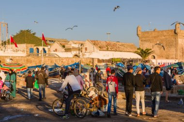 Essaouira, Morocco - November 4, 2018: Sunny morning in the old fishing port of Essaouira