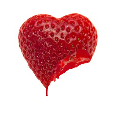 Ripe heart-shaped strawberry on a white background