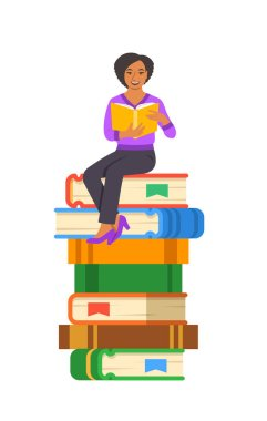 Young black girl student reads open book sitting on stack of giant books. High school education concept. Vector cartoon illustration. Exam preparation using paper book. Modern well-educated youth