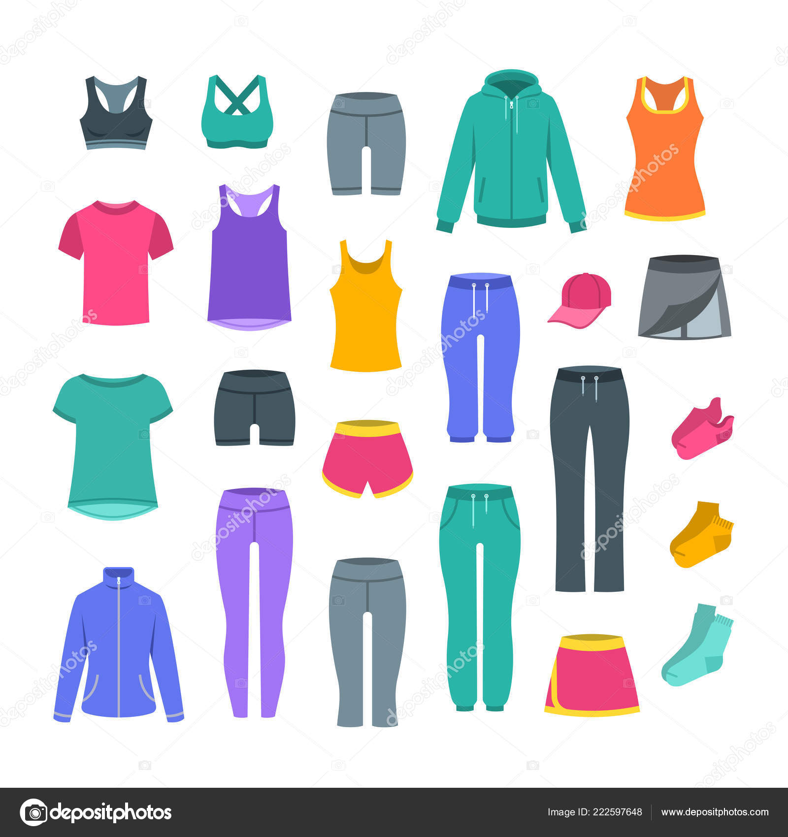 67138eb3565 Women Casual Clothes Fitness Training Basic Garments Gym Workout Vector —  Stock Vector