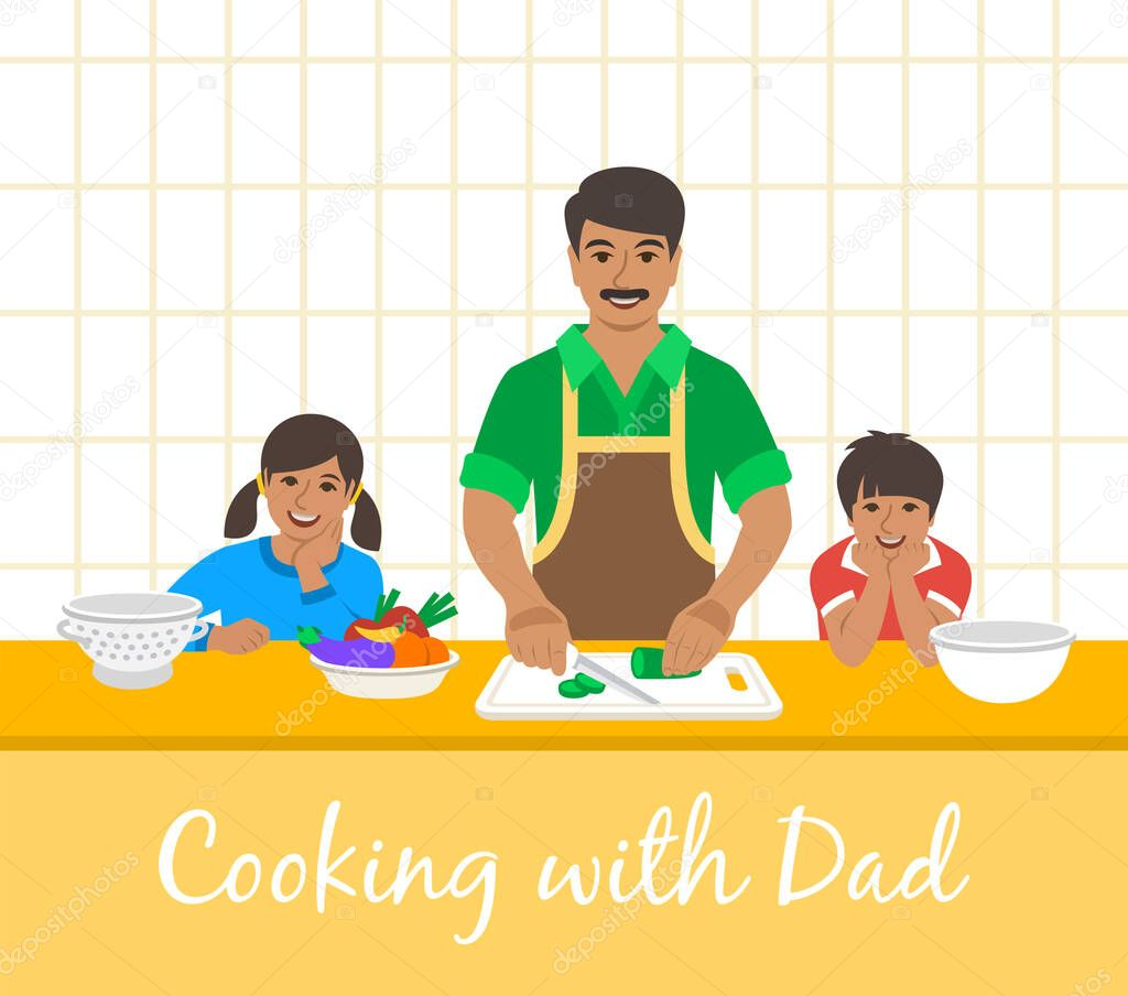 Indian Family Cooking Together Dad With Two Happy Kids Cuts Vegetables For The Dinner Flat Cartoon Illustration Little Son And Daughter Help Father Cook Meals In The Kitchen Stay Home Concept