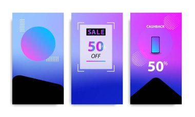 Vertical modern futuristic background in frame template with gradient blue, pink, purple gradation. Suitable for social media stories, story, web banner, expandable banner, flyer and brochure.