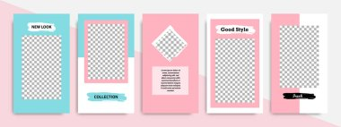 Modern minimal square shape template in pink, blue, turquoise, red and white color with frame. Corporate advertising template for social media stories, story, business banner, flyer, and brochure.