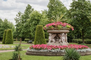 Peaceful gardens view in Regent's Park, London.  No people