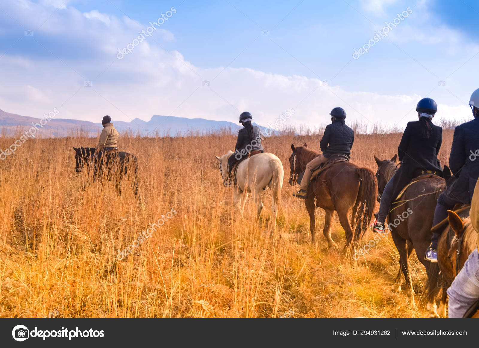 Group Of Indian Horse Riding Riders On A Trail In Drakensberg Re Stock Photo C Shamsamir 294931262