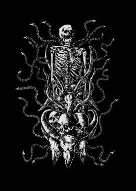 Cruel bondage art skulls detail illustration