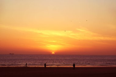 A gorgeous sundown with view to the sea  in the african harbor city Agadir in Morocc