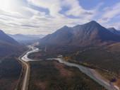 Denali National Park, Nenana River and Alaska Route 3 aka George Parks Highway aerial view in fall, at the outside boundary of Denali National Park, Alaska AK, USA.