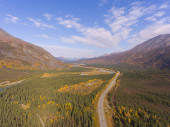 Denali National Park, Nenana River and Alaska Route 3 aka George Parks Highway aerial view in fall, at the outside boundary of Denali National Park, Alaska AK, USA.