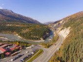 Denali National Park, Nenana River and Alaska Route 3 aka George Parks Highway aerial view in fall, at Denali Village, Alaska AK, USA.