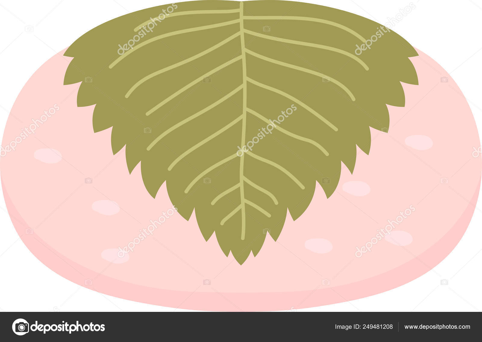Cute Bean paste rice cake wrapped in a cherry leaf — Stock