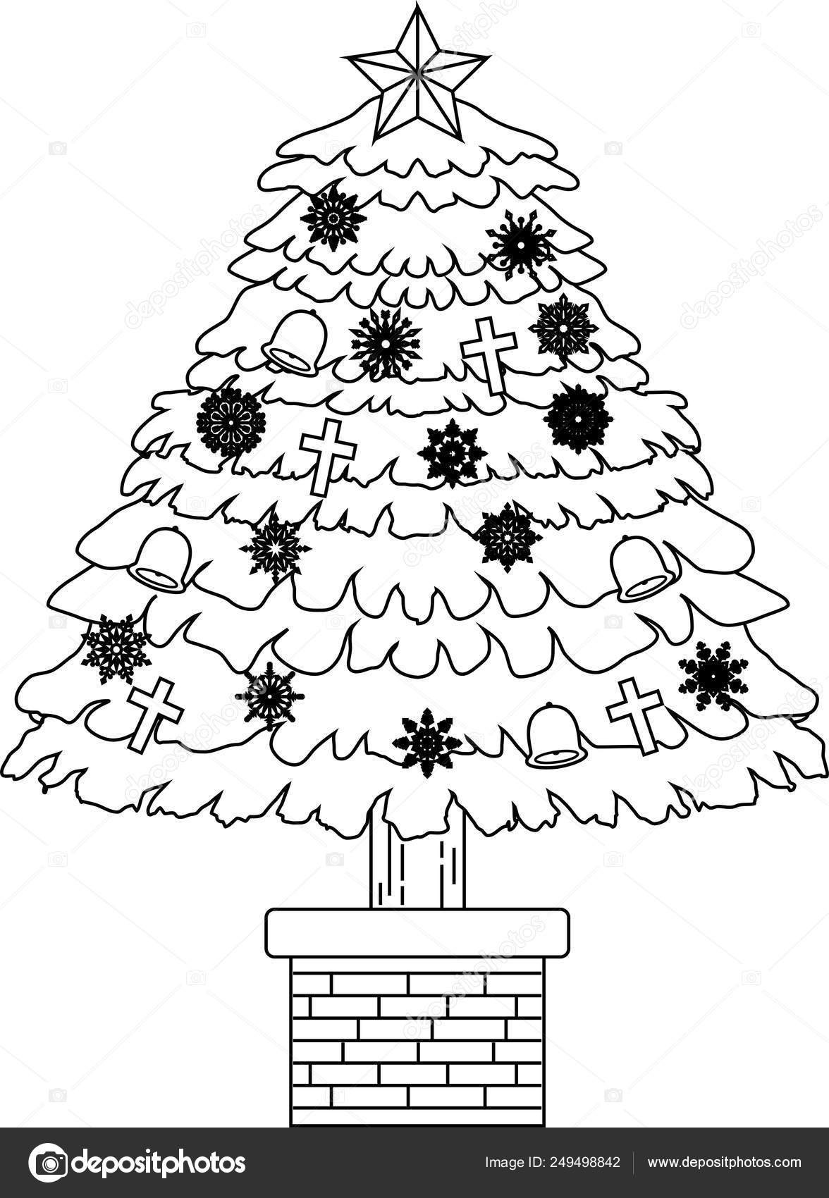Christmas Tree Outline.Luxuriously Decorated Christmas Tree Outline Stock Vector