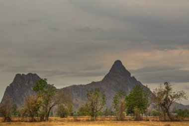 Beautiful view of Mountain at Khao i bid or Khao e go at Khao Yoi District, Phetchaburi province, Thailand.