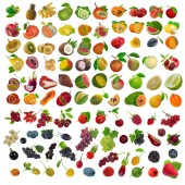 Closeup shot of assorted fruits isolated on white