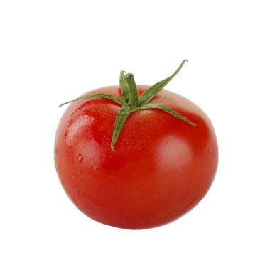 Closeup of tomato isolated on white background
